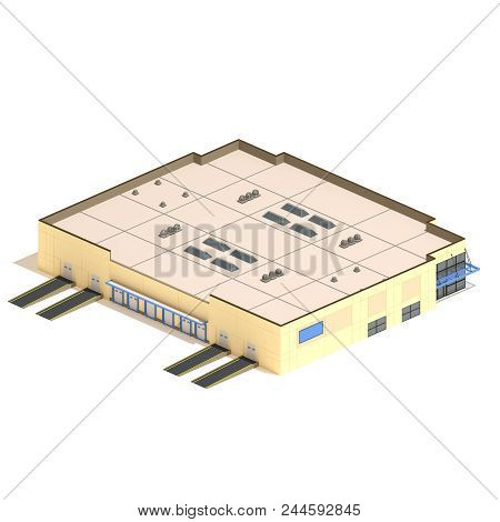 Flat 3d Model Isometric Warehouse Building Illustration Isolated On White Background.