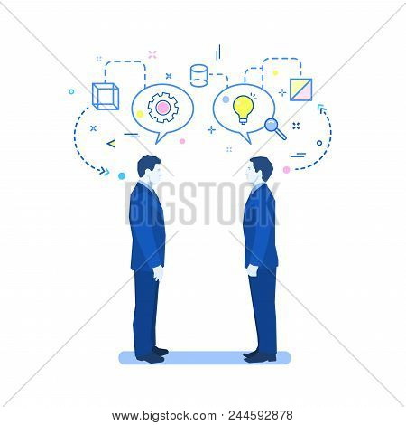 Concept Of Teamwork. Two Men Talk, Discussion And Exchange Of Ideas. Flat Design, Vector Illustratio