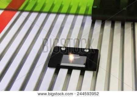 Laser Engraving Metal Industry: Macro View Of Industrial Digital Cnc-computer Numerical Invisible La