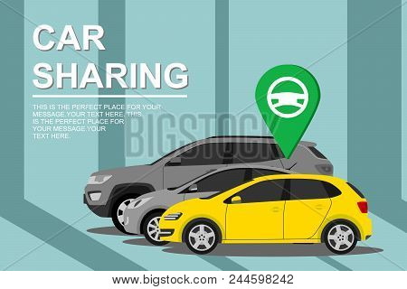 Renting And Carpooling Banner On City Background. Rental Auto Service. Automobile Concept. Car Shari