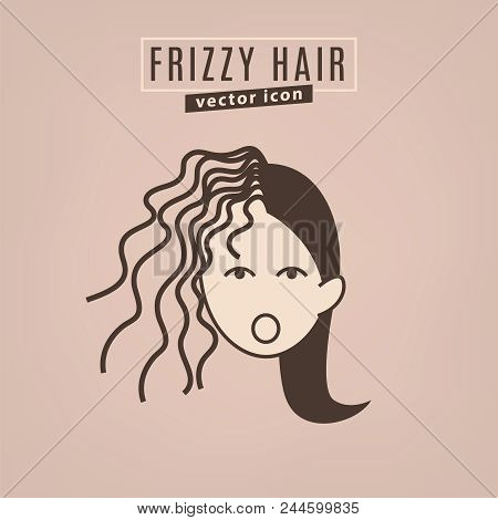 Frizzy Hair Icon. Hair Problems Collection. Vector Illustration In Flat Style Isolated On A Beige Ba