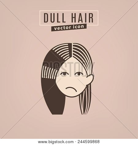 Dull Hair Icon. Hair Problems Collection. Vector Illustration In Flat Style Isolated On A Beige Back