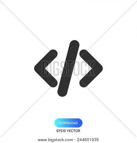 Code Icon Simple Vector Sign And Modern Symbol. Code Vector Icon Illustration, Editable Stroke Eleme
