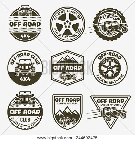 Off-road Suv Car Set Of Vector Monochrome Labels, Emblems, Badges And Logos Isolated On White Backgr