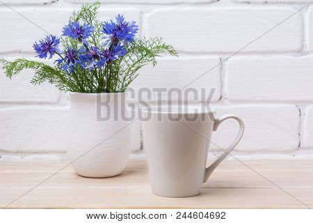 White Coffee Latte Mug Mockup With Cornflower In Rustic Vase