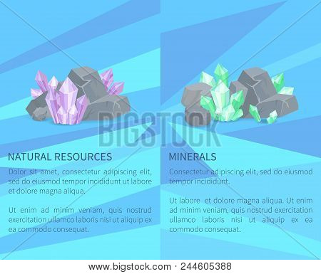 Natural Resources Minerals Among Rocks And Stones Vector Illustration Web Posters Set With Crystals