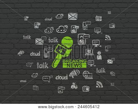 News Concept: Painted Green Breaking News And Microphone Icon On Black Brick Wall Background With  H