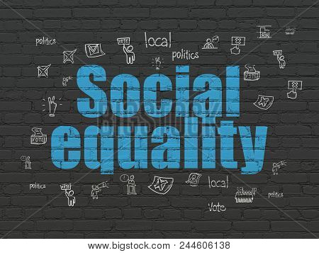 Politics Concept: Painted Blue Text Social Equality On Black Brick Wall Background With  Hand Drawn
