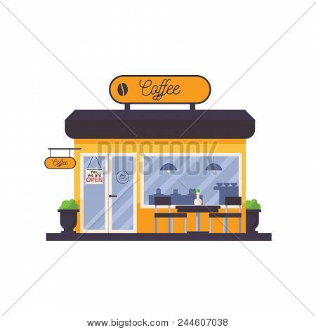 Outdoor Scene With Coffee Shop Storefront Facade. Cafe With Signboard On Top, Table And Chairs In Fr