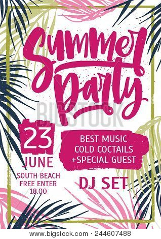 Bright Colored Invitation, Poster Or Flyer Template Decorated With Exotic Palm Tree Leaves For Summe