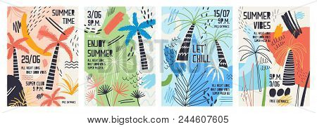 Collection Of Invitation Or Poster Templates Decorated With Tropical Palm Trees, Paint Stains, Blots