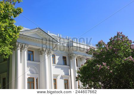 White Historic Architecture Building Facade Close Up. Historical Ornamental House Decor And Columns