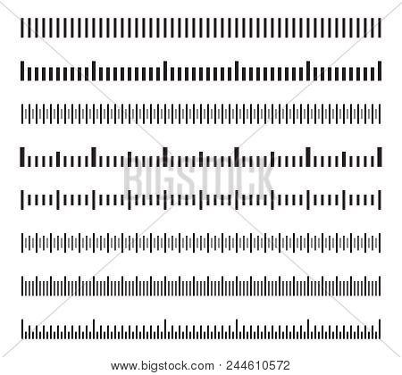 Horizontal Measure Distance Scales, Calibration Measuring Size Indicators Vector Set Isolated. Illus