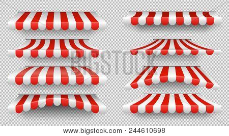 Red And White Sunshade. Outdoor Awnings For Cafe And Shop Window Isolated Vector Set. Tent Sunshade