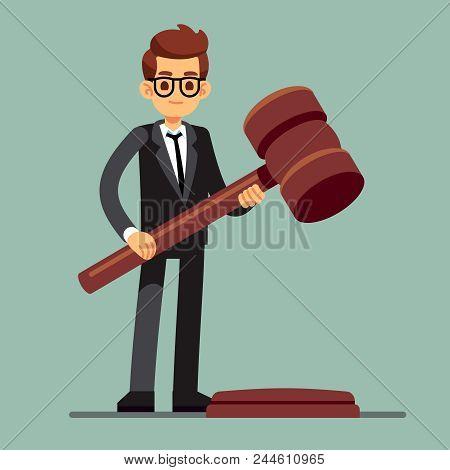 Business Lawyer Holding Wooden Judge Gavel. Legal Verdict, Legislation Authority Vector Concept. Ill