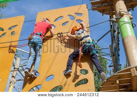 Safe Climbing Extreme Sport With And Carabiner. Safety Equipment. Recreation, Extreme Sports, Overco