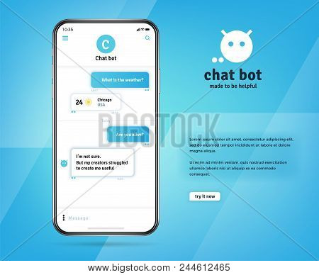 Online Chatbot App With Messages On Realistic Smartphone Screen. Eps 10 Vector Concept. Chatting And