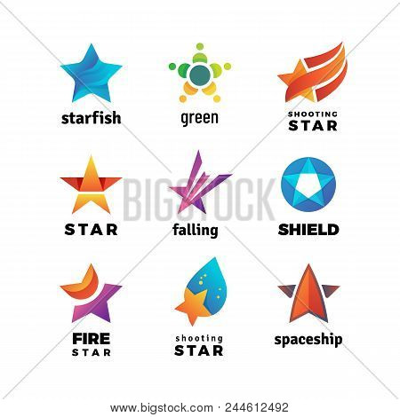 Leader Star, Rising Stars Vector Logo. Comet With Tail Vector Symbols Isolated On White Background.