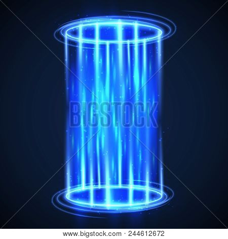 Futuristic Virtual Hologram Teleport. Hud Digital Portal. Hightech Vector Background. Light Futurist