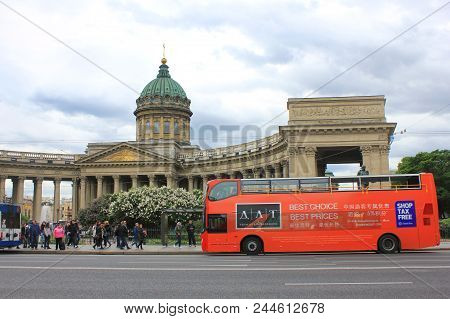 St. Petersburg, Russia - June 7, 2018: Tourist Bus On City Street In Front Of Kazan Cathedral. Hop O
