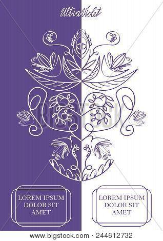 Ultraviolet And White Vertically Divided Background With Monoline Vintage Flourish Patterns, Two Tex