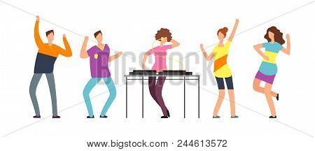 Adult Persons Dance. Happy Dancing People. Teenager Dancers At Party Vector Cartoon Characters Isola