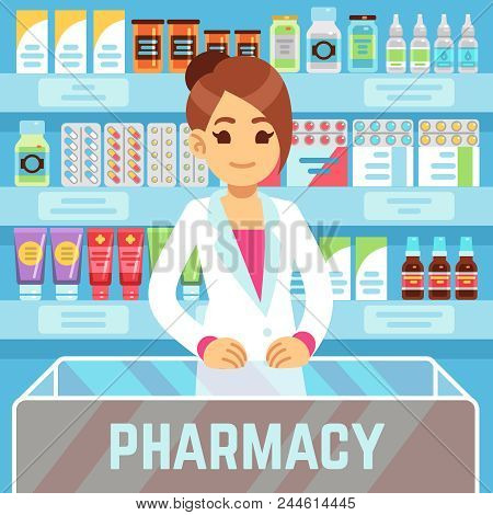 Happy Young Woman Pharmacist Sells Medications In Pharmacy Interior. Pharmacology And Healthcare Vec