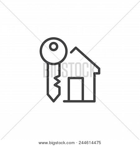 Home Key Outline Icon. Linear Style Sign For Mobile Concept And Web Design. House Key Simple Line Ve