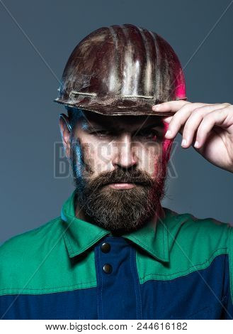 Architect, Worker, Engineer - Work. Portrait Architect Builder On Construction Site. Builder In Prot