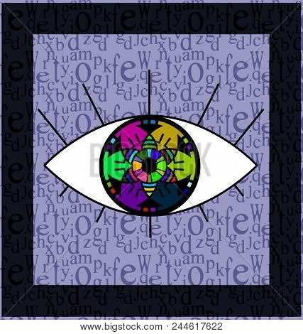 Abstract Colored Background Image Of Frame And Large Abstract Eye