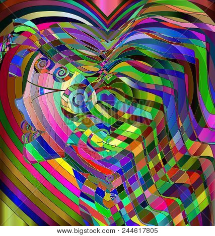 Abstract Colored Background Image Of Head Girl Consisting Of Lines