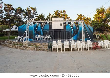 Outdoor Theater Podium With Trees In Background In Northern Sicily In Italy