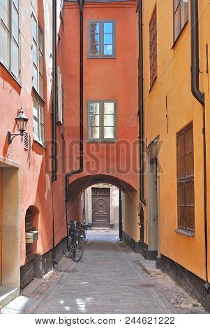 Stockholm, Sweden. Narrow Street Of The Old Town