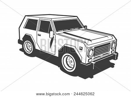 Suv Car 3d Black And White Stamp Illustration. Retro Old School Style.