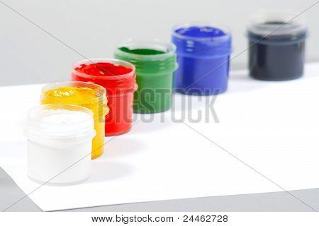 Set of art gouache paints and paper