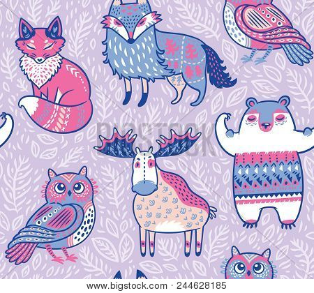 Seamless Bright Pattern With Woodland Animals In Cartoon Style. Creative Nursery Background