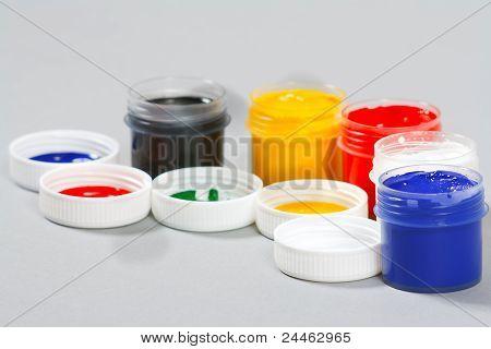 Set of art gouache paints