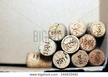 Used Wine Corks From Various Varieties Of Vintage Red Wine And Vintage White Wine Depicting Differen