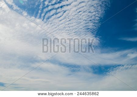Blue Sky Sunrise Dramatic Landscape With White Picturesque Clouds - Vast Sky View With Dramatic Sky