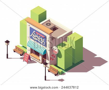 Vector Isometric Fishing Gear, Equipment, Bait And Tackle Shop Building With Signboard