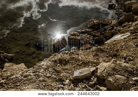 Landscape Pond In Limestone Quarry, Yellow, Sandy, Pond, Sun In Water