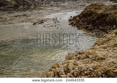 Landscape Pond In Limestone Quarry, Yellow, Sandy, Pond