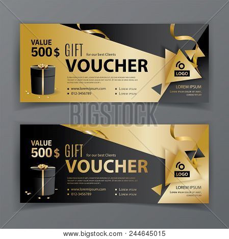 Vector Gift Voucher Template. Universal Flyer For Business. Luxury Vector Design, Black Gold Design