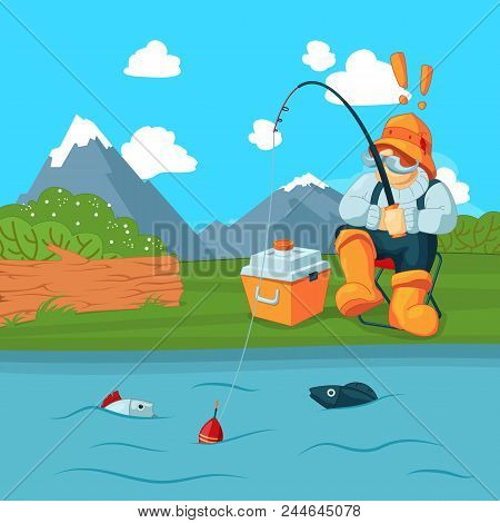 Vector Fisherman With Fishing Road Catching A Fish On Mountain Landscape Bacgkround Concept Illustra