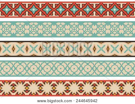 Set Of Five Illustrated Decorative Borders Made Of Abstract Elements In Beige, Brown, Orange, Turqoi