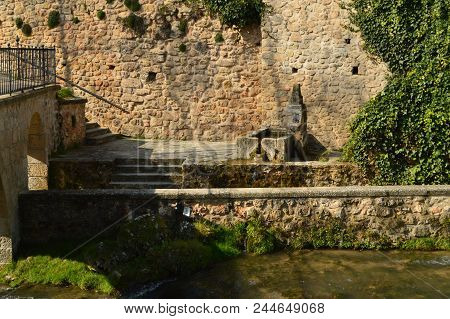 Wonderful Fountain Dating From The 16th Century In The Town Of Trillo. Architecture, Travel, Nature.