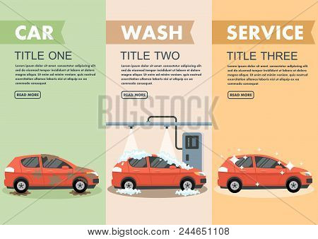 Infographics Stages Car Wash Vector Illustration. Clipart. Flat Style.