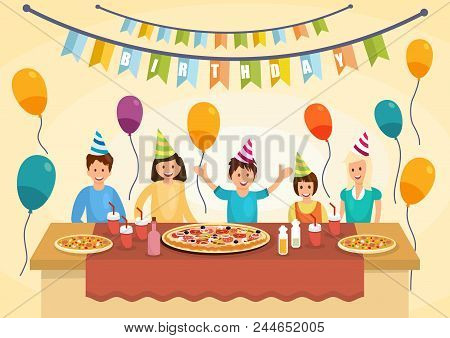 Cartoon Happy Family Is Eating Pizza For Birthday Celebrations. Pizza Time. Fast Food Lifestyle. Vec