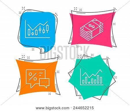 Set Of Financial Diagram, Usd Currency And Discounts Icons. Infochart Sign. Candlestick Chart, Buyin