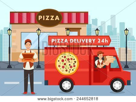 Cartoon Pizza Courier On Truck Carries Pizza Order. Service Delivery Pizza Concept. Pizzeria. Pizzai